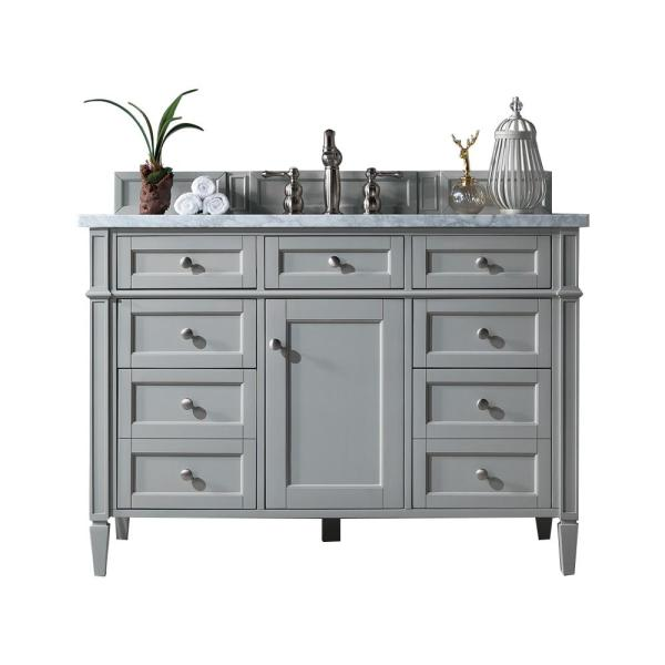 Brittany 48 in. W Single Bath Vanity in Urban Gray with Marble Vanity Top in Carrara White with White Basin