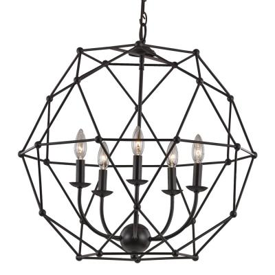 Avo 5-Light Rubbed Oil Bronze Pendant