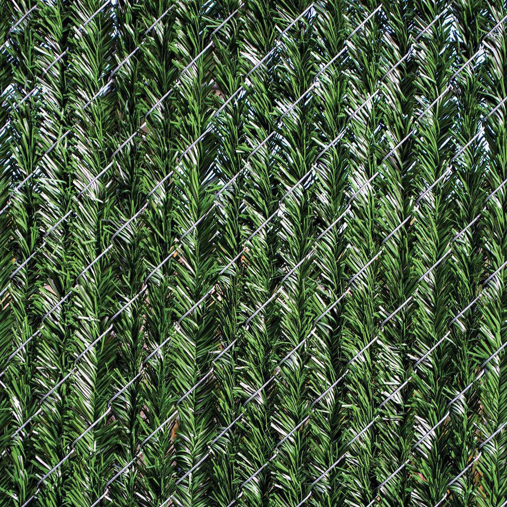6 ft. H x 5 ft. W Green Vinyl Privacy Hedge Slat Fence Panel