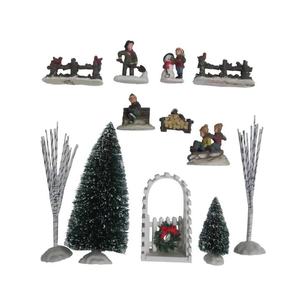 Christmas Village Accessories.Home Accents Holiday 6 In H Poly Resin Village Accessories 12 Piece