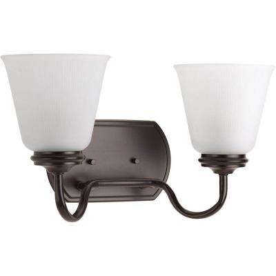 Keats Collection 2-Light Antique Bronze Bathroom Vanity Light with Glass Shades