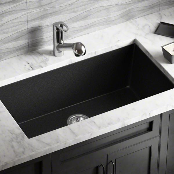 Mr Direct Undermount Granite Composite 32 625 In 0 Hole Single Bowl Kitchen Sink In Black 848 Black The Home Depot