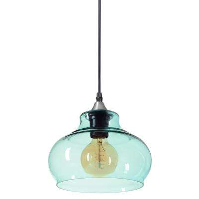 Windbell 8 in. W x 6 in. H 1-Light Silver Hand Blown Glass Pendant Light with Teal Glass Shade