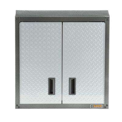 Ready to Assemble 28 in. H x 28 in. W x 12 in. D Steel Garage Wall Cabinet in Silver Tread