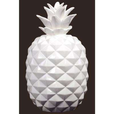 14.5 in. H Pineapple Decorative Figurine in White Gloss Finish