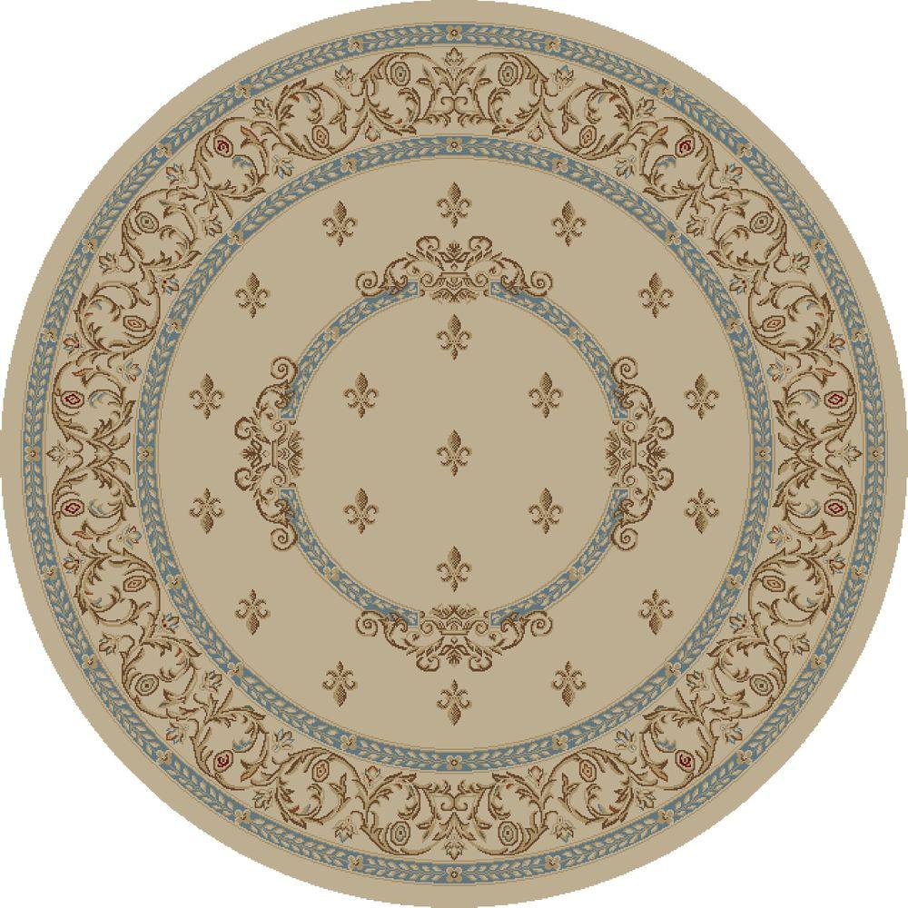 Concord Global Trading Jewel Fleur De Lysmedallion Ivory 5 ft. 3 in. Round Area Rug
