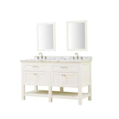 Preswick Spa 60 in. W x 25 in. D Vanity in White with Marble Vanity Top in White Carrara with White Basin and Mirrors