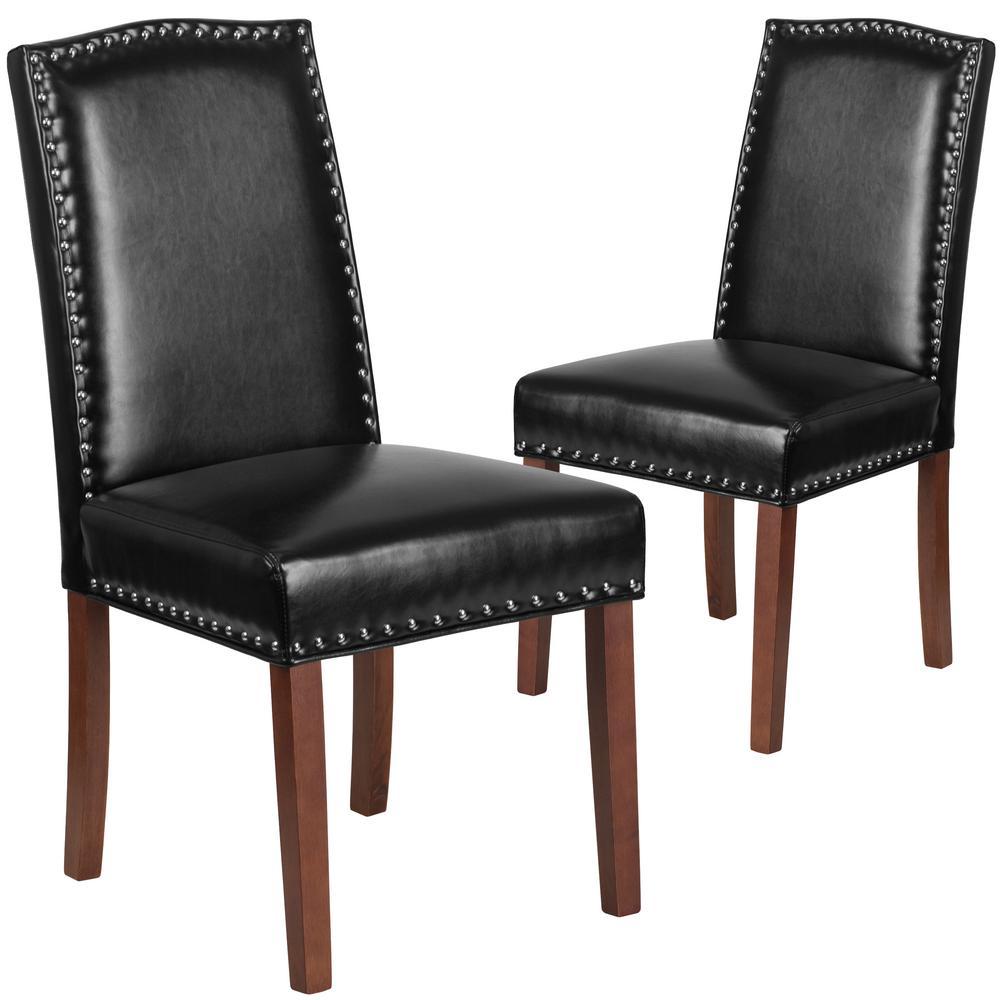 Super Black Leather Parsons Chair Set Of 2 Creativecarmelina Interior Chair Design Creativecarmelinacom