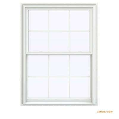 39.5 in. x 59.5 in. V-2500 Series White Vinyl Double Hung Window with Colonial Grids/Grilles