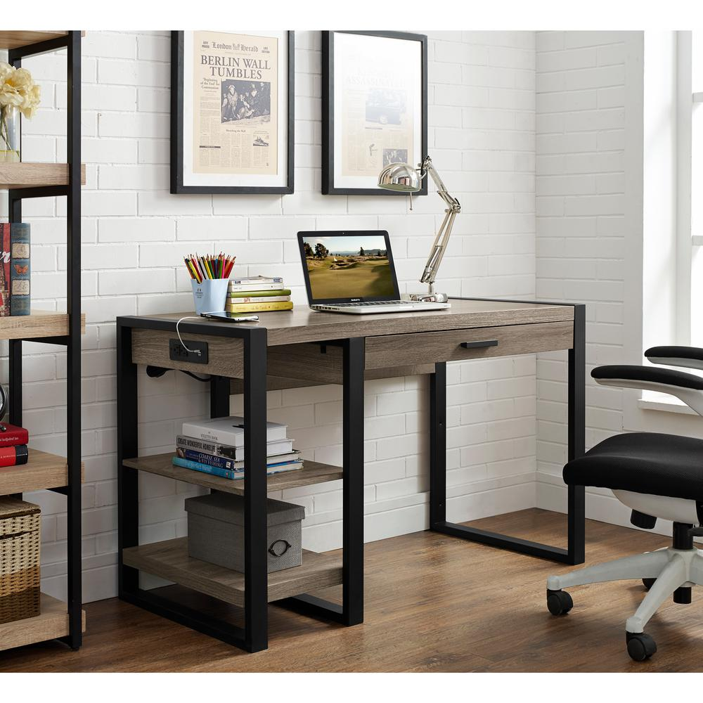 Walker Edison Furniture Company Urban Blend Driftwood Desk With Storage