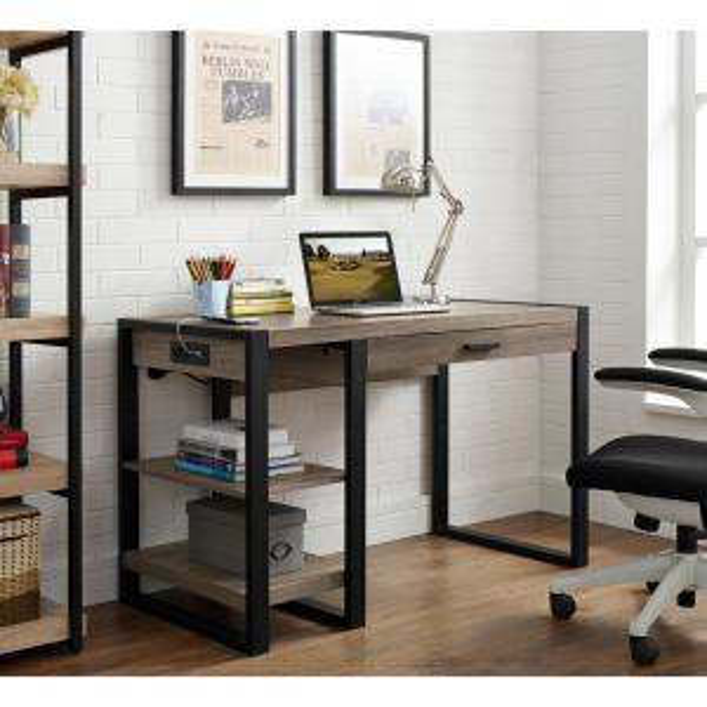 bright and modern driftwood desk. Walker Edison Furniture Company Urban Blend Driftwood Desk with Storage