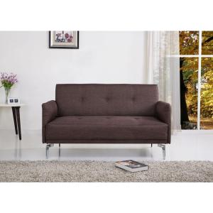 Brown Linen Loveseat by