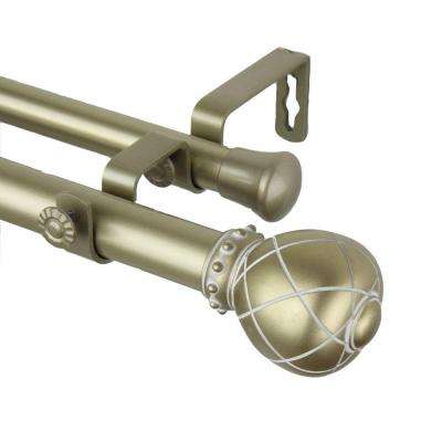 120 in. - 170 in. 1 in. Supreme Double Curtain Rod Set in Light Gold