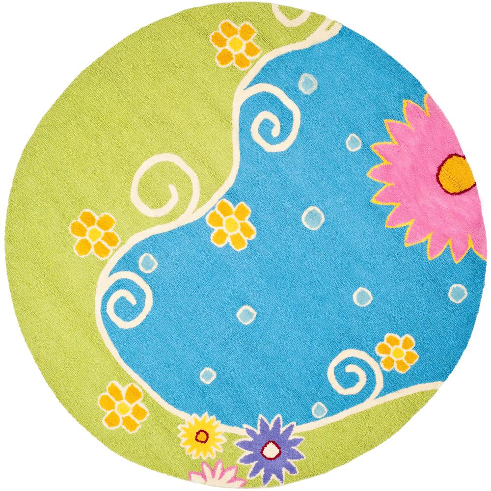 Kids Blue/Green 6 ft. x 6 ft. Round Area Rug