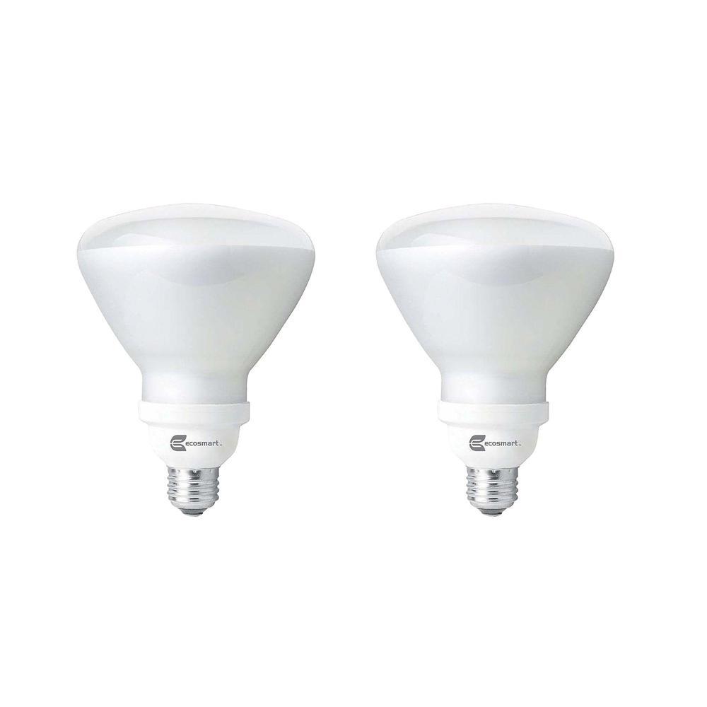 Ecosmart 120 Watt Equivalent Br40 Non Dimmable Cfl Light Bulb Soft White 2 Pack Esbr4232 The Home Depot