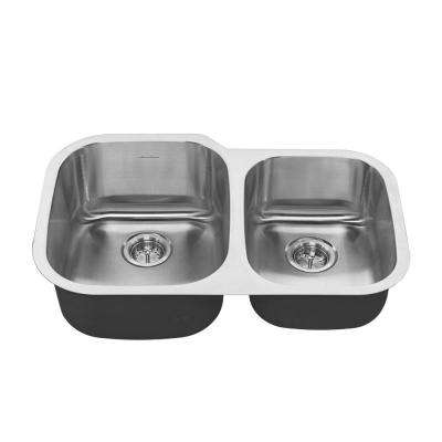 Portsmouth Undermount Stainless Steel 31 in. 2-Hole Double Bowl Kitchen Sink Kit in Stainless Steel