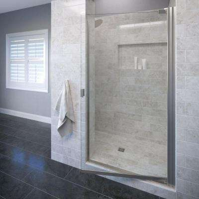 Classic 34-1/4 in. x 66 in. Semi-Frameless Pivot Shower Door in Brushed Nickel with Clear Glass