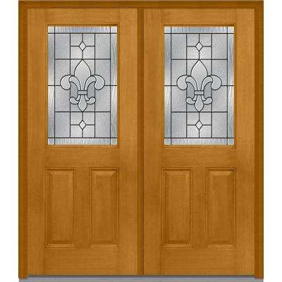 72 in. x 80 in. Carrollton Right-Hand Inswing 1/2-Lite Decorative 2-Panel Stained Fiberglass Mahogany Prehung Front Door