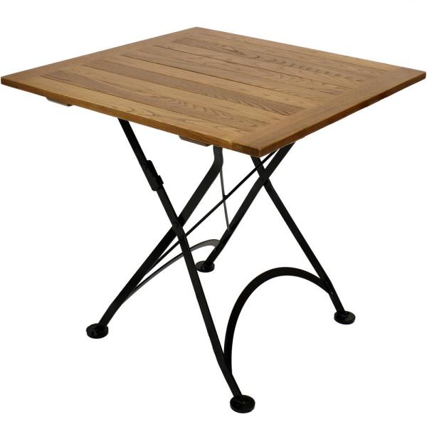 31 in. Brown Square Wood Folding Outdoor Bistro Table