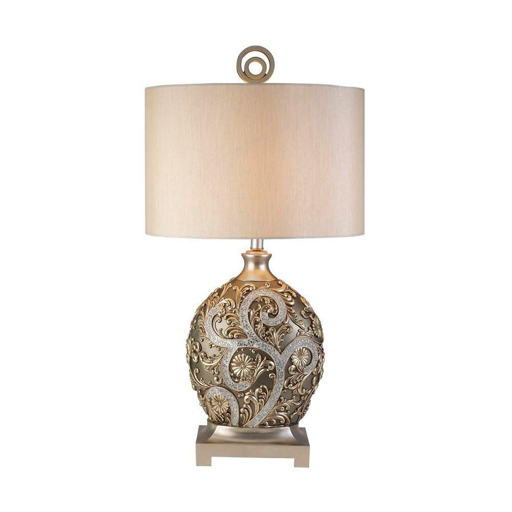 Antique Brass Silver Vine Table Lamp OK 4232T   The Home Depot