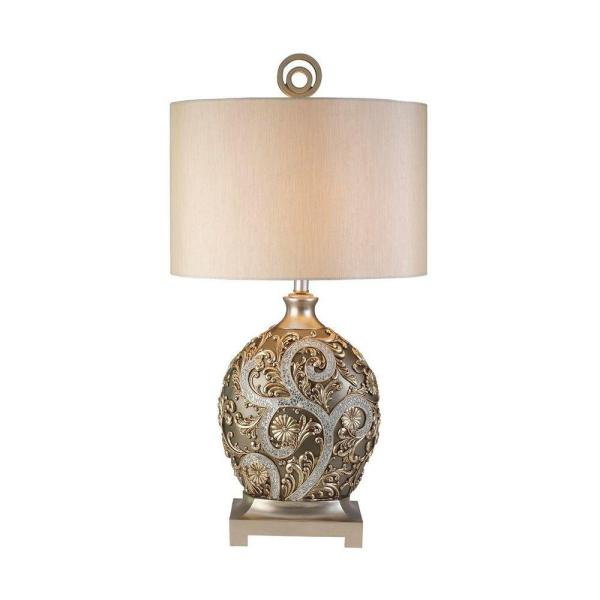 Ok Lighting 12 25 In Antique Brass Silver Vine Table Lamp Ok 4232t The Home Depot