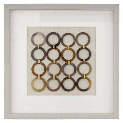 15.75 in. x 15.75 in.  Shadowbox Framed Art with Rings in White Painted Wood Frame Wall Art