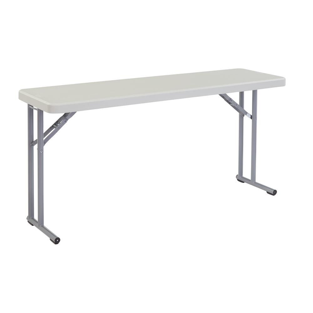 National Public Seating 60 in. Grey Plastic Smooth Surface Folding Seminar Table