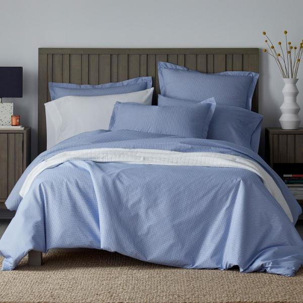 The Company Store Arrowhead 2-Piece White/Blue Cotton Percale Twin Duvet Cover
