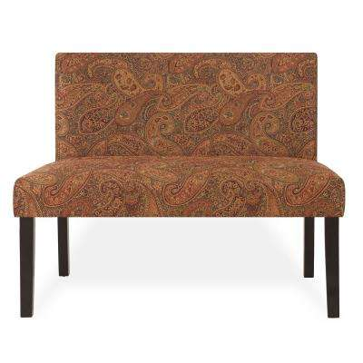 Incroyable Nate Multi Burgundy Paisley Armless Settee