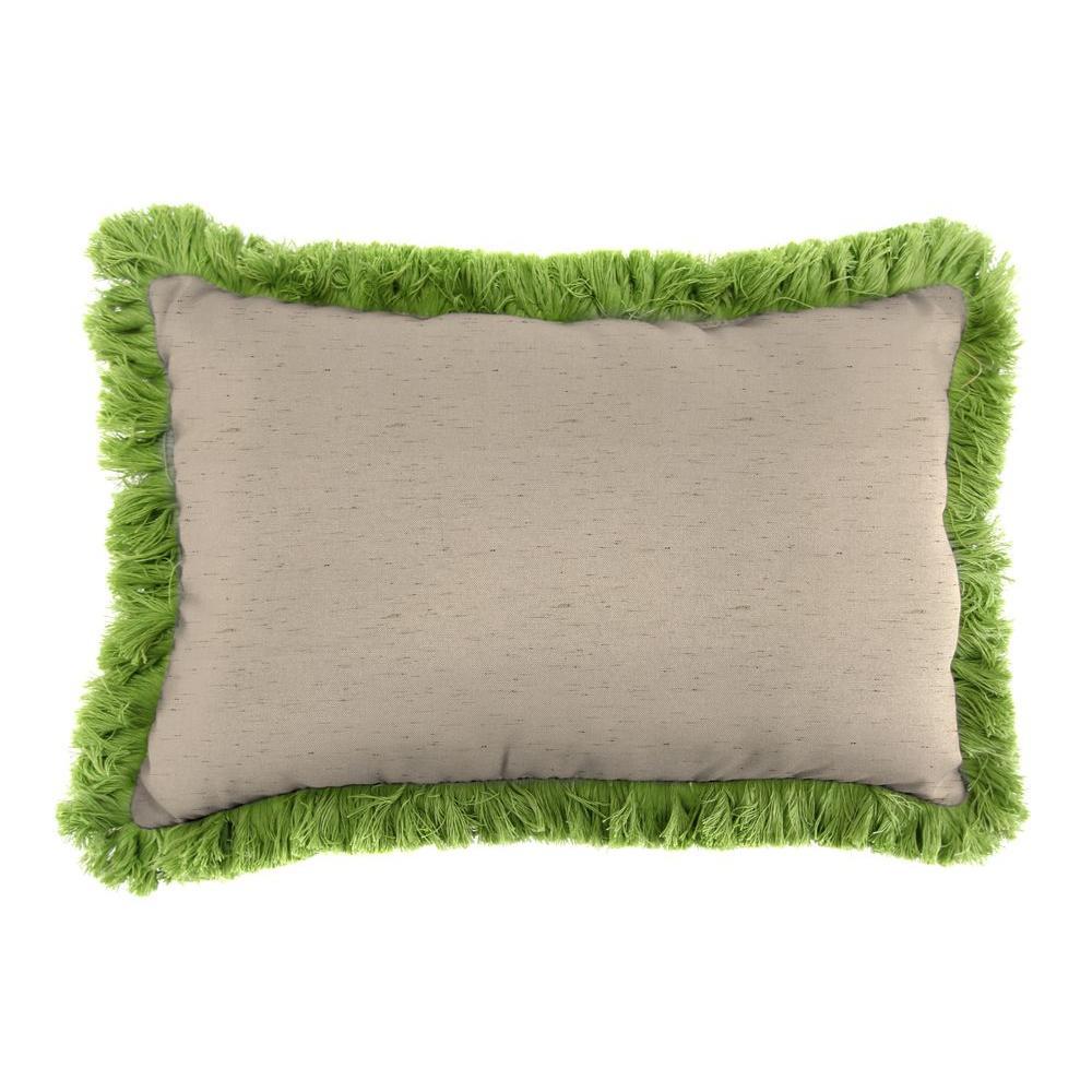 Jordan Manufacturing Sunbrella 9 in. x 22 in. Frequency Sand Lumbar Outdoor Pillow with Gingko Fringe