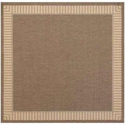 Recife Wicker Stitch Cocoa-Natural 9 ft. x 9 ft. Square Indoor/Outdoor Area Rug