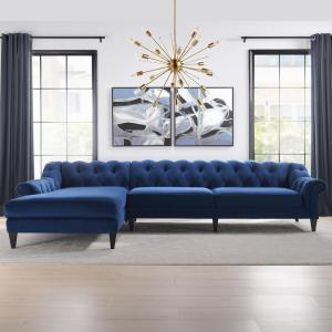 Phenomenal Jennifer Taylor Alexandra Navy Blue Tufted Left Sectional Alphanode Cool Chair Designs And Ideas Alphanodeonline