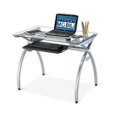 Contempo Clear Glass Top Computer Desk With Pull Out Keyboard Panel