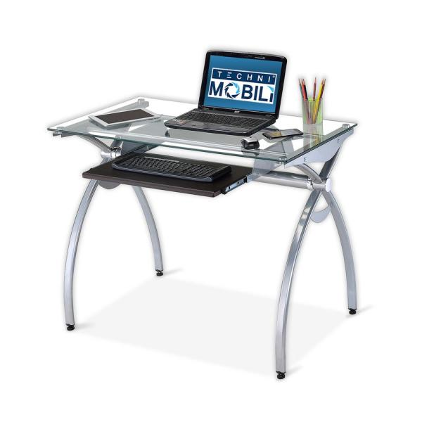 Techni Mobili Contempo Clear Glass Top Computer Desk With Pull Out