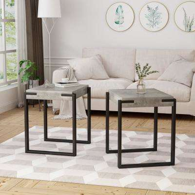 Balestier Modern Light Concrete Faux Wood End Tables with Matte Black Metal Legs (Set of 2)