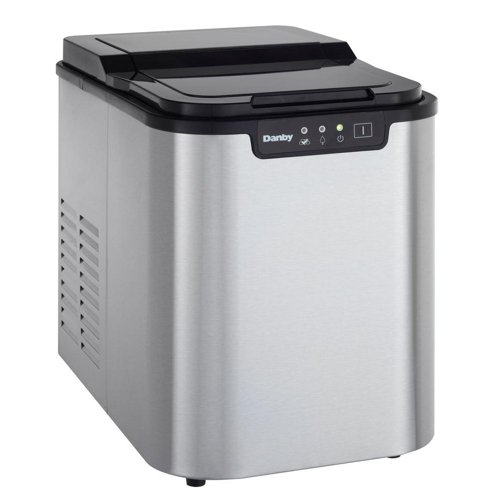 25 lb. Freestanding Ice Maker in Stainless Steel
