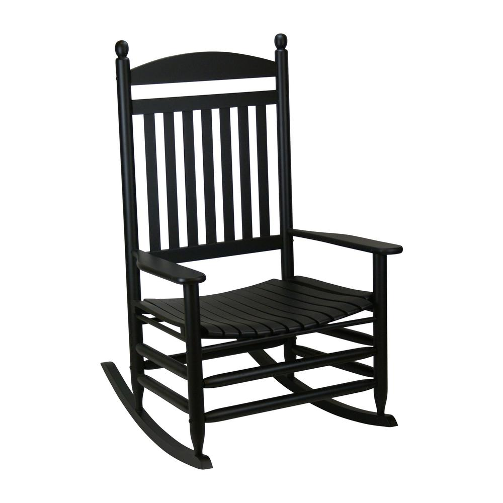 Bradley Black Jumbo Slat Wood Outdoor Patio Rocking Chair