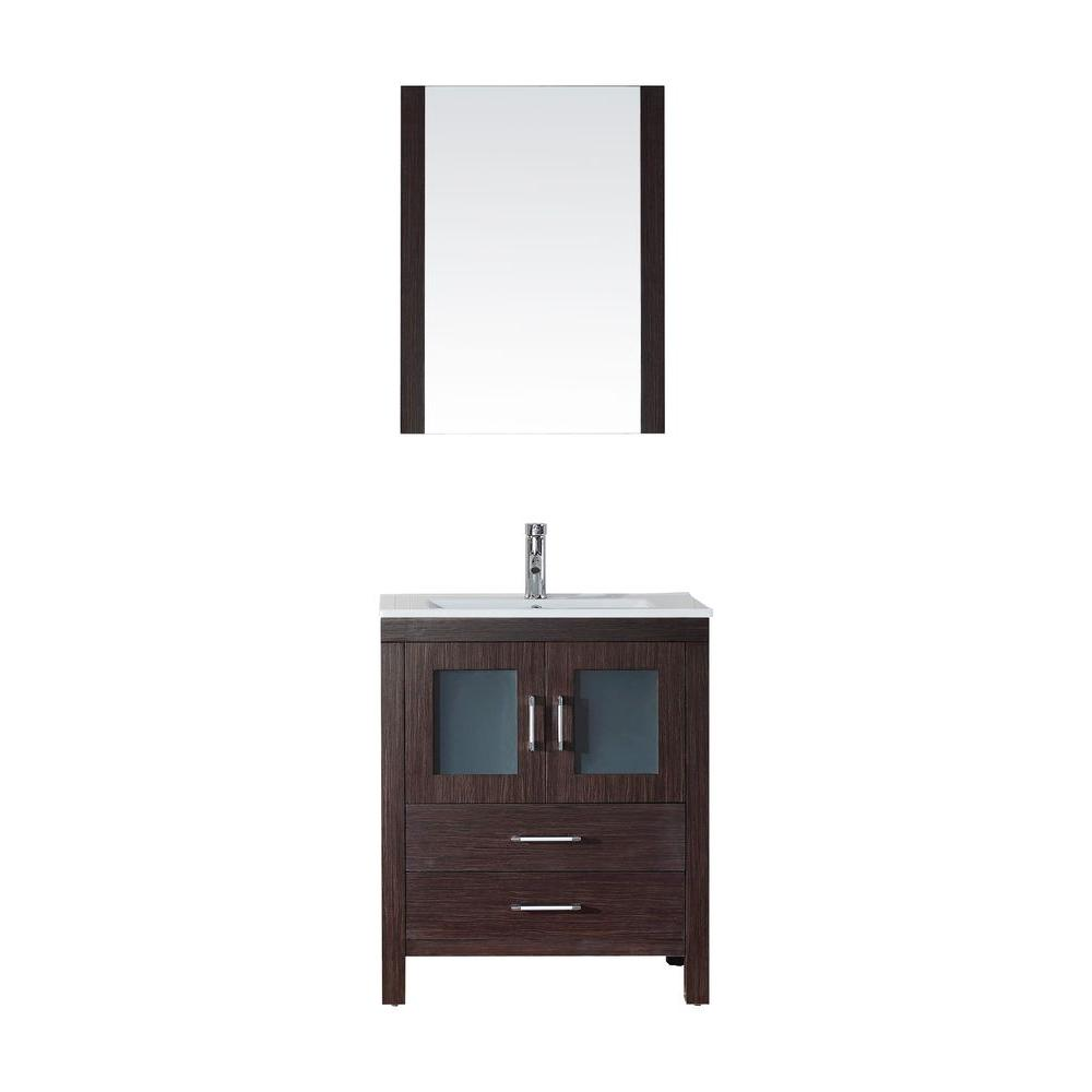 Virtu USA Dior 28 in. W Bath Vanity in Espresso with Ceramic Vanity Top in White with Square Basin and Mirror and Faucet