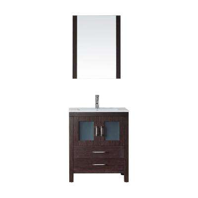 Dior 28 in. W Bath Vanity in Espresso with Ceramic Vanity Top in White with Square Basin and Mirror and Faucet