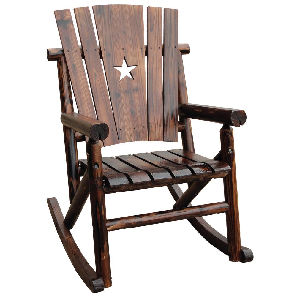 leigh country char log patio rocking chair with star - Patio Rocking Chairs