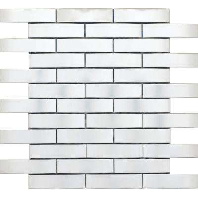 Gleam Silver Matte 11.81 in. x 11.81 in. x 12mm Metal Products Mesh-Mounted Mosaic Tile (0.88 sq. ft.)