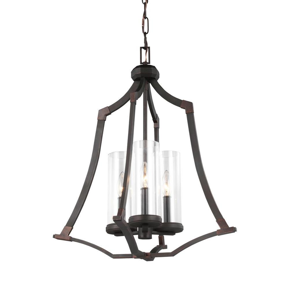 Jacksboro 3-Light Dark Antique Copper Chandelier with Clear Glass Shade