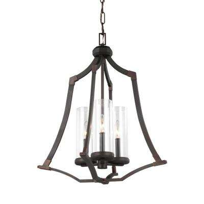 Copper chandeliers lighting the home depot jacksboro 3 light dark antique copper chandelier with clear glass shade aloadofball Gallery