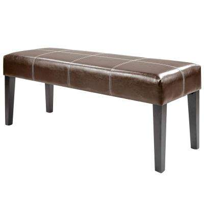 "Antonio 47"" Dark Brown Bonded Leather Bench"