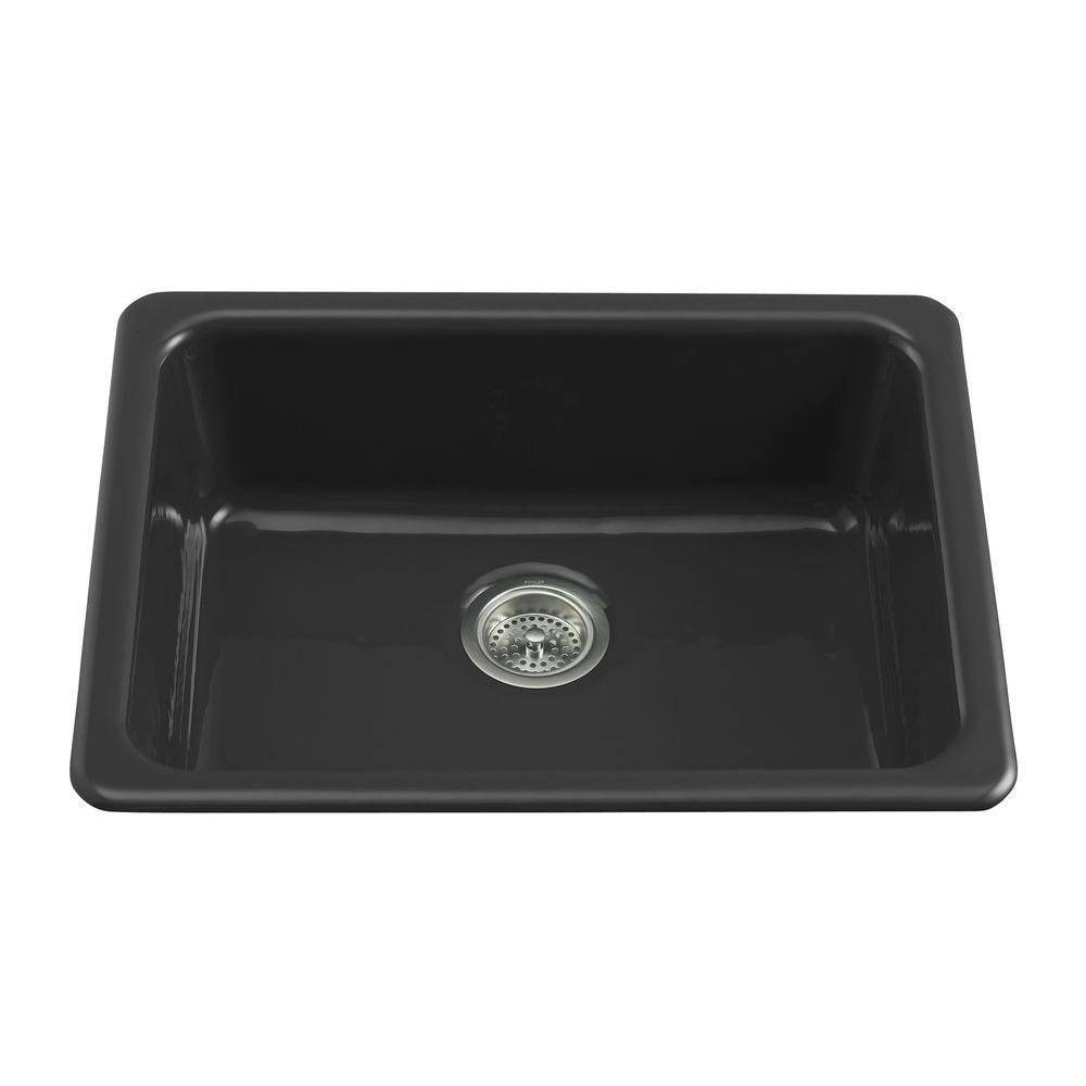 KOHLER Dual Mount Cast Iron 24 In Single Basin Kitchen Sink Black