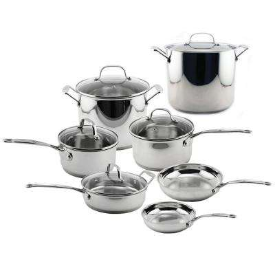 EarthChef Premium 12-Piece Stainless Steel Cookware Set with Lids