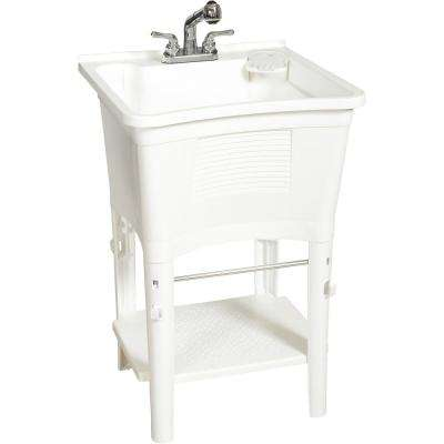 All-in-One 24 in. x 24 in. 20 Gal. Freestanding Laundry Tub in White, with Non-Metallic Pull-Out Faucet in Chrome