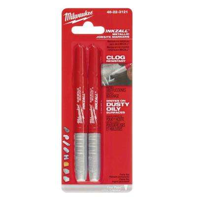 INKZALL Fine Point Markers, Silver (2-Pack)