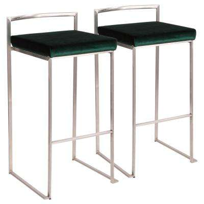 Fuji 30 in. Stainless Steel Bar Stool with Green Velvet Cushion (Set of 2)