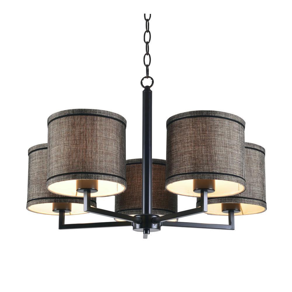 Kenroy Home Lighting Keen Bronze Pendant Light With Drum: Kenroy Home Margot 5-Light Oil Rubbed Bronze Chandelier